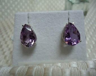 Pear Cut Amethyst Earrings in Sterling Silver   1838