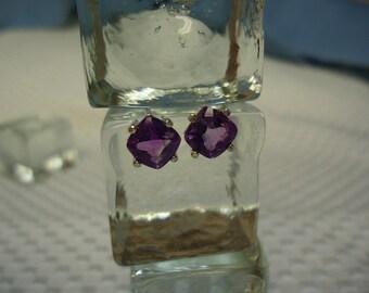 Cushion Cut Amethyst Earrings in Sterling Silver