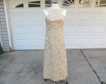 1960's Full Length Gold Brocade Evening Dress