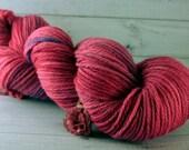 Rose Hand Dyed Yarn, worsted merino wool, pink yarn