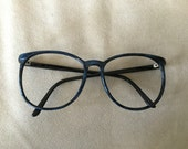 Black with blue TRON style nerdy eyeglasses frames vintage 1980's
