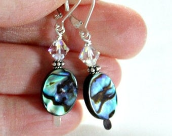 Abalone Swarovski Crystal Sterling Silver Earrings,Graduation Gift for Niece,Daughter in Law Gift,Gift for Sister,Granddaughter Graduation