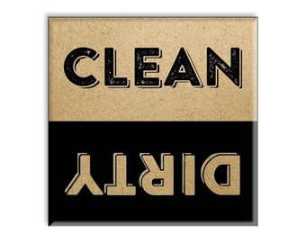 Clean Dirty Dishwasher Magnet 2.5 x 2.5 Inch, Vintage Letterpress Style Retro Christmas Gift Idea Stocking Stuffer Party Favor Novelty Item