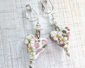 Clip Lamp Work Heart Earrings with Pink & White Flowers