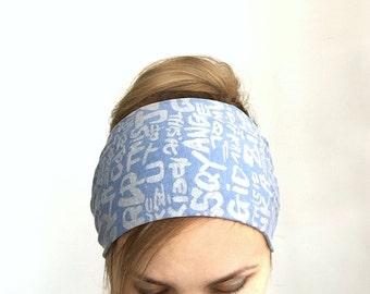 jersey womens headband extra wide head band adult headband graffiti cotton headwrap top selling headband fashion yoga headwrap bandana blue