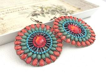 EXTRA LARGE EARRINGS, colorful earrings, dangle earrings, gypsy stone earrings, handmade in Italy, round earrings for women