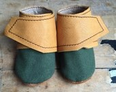 Canvas wrap around leather baby booties