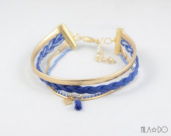 Nina bracelet in royal blue and gold || Multi strand bracelet