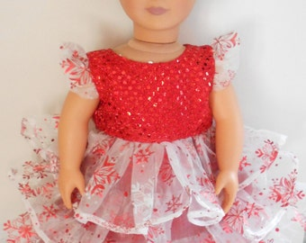 Red and White Snowflake Holiday Christmas Dress for American Girl and 18 inch Dolls