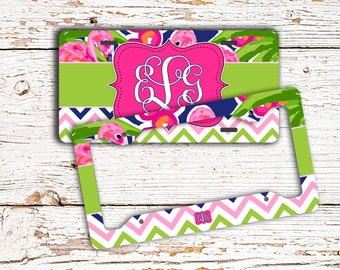 Preppy pink license plate or frame car decor, Pink lime green, navy blue, Cute car accessory, Vanity car tag or bicycle plate, (1665)