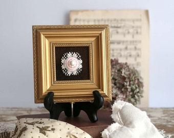 Vintage button art in frame, vintage golden frame, Valentine's Day gift, Mother's Day decor, spring home decor