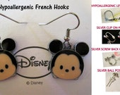 Mouse Tsum Mickey Earrings -CHOICE- Handmade Steel Hypoallergenic Leverback French Hook Post Pierced OR Clip On