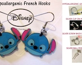 Stitch Tsum Earrings -CHOICE- Handmade Steel Hypoallergenic Leverback French Hook Post Pierced OR Clip On