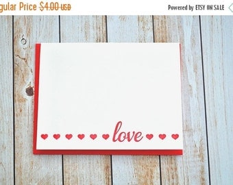 50% OFF Letterpress love card , letterpress valentine , valentine's day, valentine's card, letterpress hearts , red heart, pink , LOVE