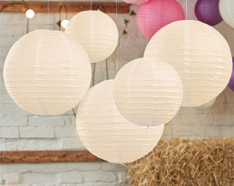 Wedding decorations, paper lanterns, color choice set of  5, birthday decor, baby shower, Chinese lantern, pink yellow, baptism party