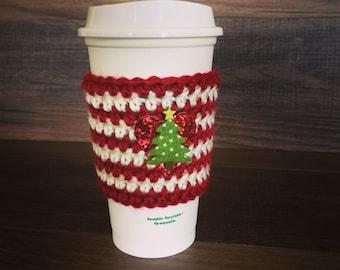 Christmas Tree Striped Coffee Cozy Sleeve