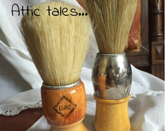 Attic tales. FREE SHIPPING. Antique French pair man shaving brush wood guy vanity item shabby chic vintage French home decor
