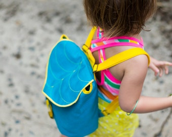 Turquoise Leaf Mini Backpack, Kids Rucksack,Waterproof Backpack, Toddler Backpack, Durable Woodland Design, Leaf Bag, Hipster Bag