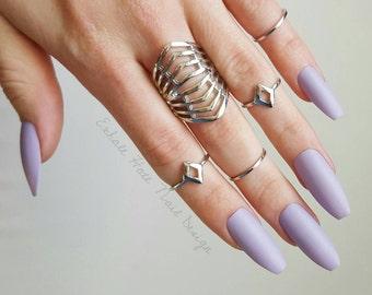 Pastel Purple - Fake Nails - Press On Nails - Matte Nails - Stiletto, Oval, Square, Coffin/Ballerina