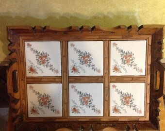 Vintage Mexican Hand Carved Wooden Tray With Ivory Tile & Floral Design
