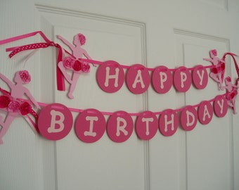 Happy Birthday Ballerina Banner, Painted Wooden Ballerina and Paper Banner, Ballet Bunting, Ballerina Birthday Banner, Pink