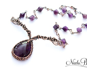 Copper and Amethyst Tudor Princess Wire Wrapped Necklace.