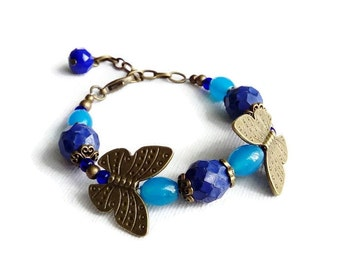 Blue Butterfly Bracelet, Butterfly Bracelet, Summer Jewellery, Summer Wedding Jewellery, Ladies Gift Ideas, Adjustable Bracelet