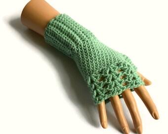 Crochet fingerless Gloves, Women's Sage Green Gloves, Crochet Gloves, Pale Green Wristwarmers, Non Animal Fibre Gloves, FREE UK P&P