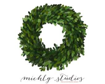 Digital Clip art Boxwood wreath PNG clipart