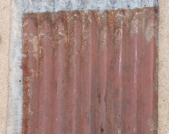 "Salvaged, Barn Tin, Rusty, Siding, Roofing, Weathered, Corrugated Tin, No Rust 1 Side, 26"" wide X 28"" tall, Galvanized Tin, Vintage"