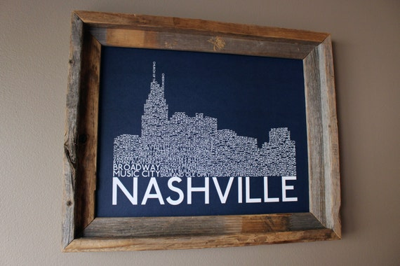 Nashville Skyline Word Art Print (Dark Blue)