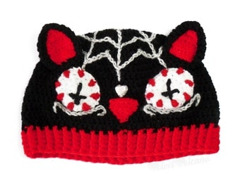 Spooky Black Cat Hat. Sugar Skull Kitty Beanie. Red Day of the Dead Beanie. Skull Hat. Gothic Beanie. Cosy Cat Ear Hat. Halloween Winter Hat
