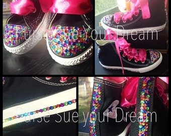 Swarovski Crystal Rhinestone Rainbow Converse Hi Top Chucks - Bling Shoes - Custom Shoes