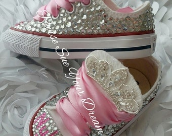 Swarovski Crystal Design Princess Converse Shoes - Bling Shoes - Princess Converse Shoes - Flower Girl Shoes - First Birthday Shoes