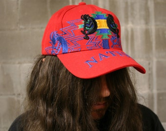 Vintage NATIVE AMERICAN Southwest Kokopelli Snapback Ballcap Hat