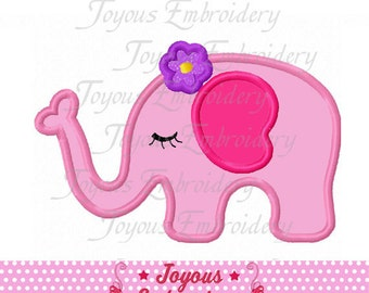 Instant Download Girl Elephant Applique Machine Embroidery Design NO:1992