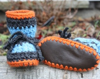 Grey, Blue and Orange Baby Toddler Child Crochet SHEEPSKIN Booties and Crochet Sheepskin Slippers with Leather and Sheepskin Shearling Sole
