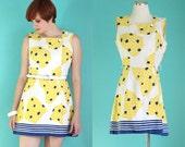 Vintage 60s Romper - Scooter Dress - 60s Mod Dress - Blue and Yellow Summer Romper - Mini Dress - Alex Colman Playsuit - Size Medium