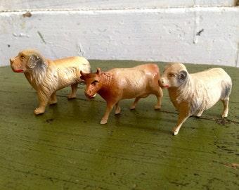 Antique Celluloid Set of 3 Barn Yard Animals Cow Ram Dog Christmas Spring Decor Old Toys Noahs Ark