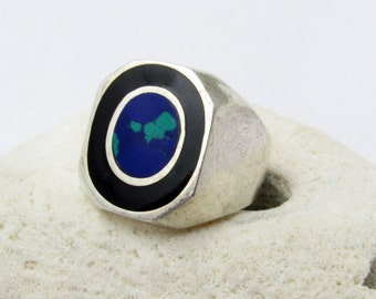 Vintage Sterling Ring Azurite Onyx Mens Jewelry H793