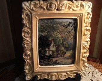 Vintage Cottage Scene with Plaster Frame Bubble Glass