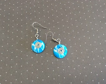 Blue/white swirl Handmade Polymer Clay earrings.