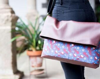 SALE -40%. Messenger bag. Womens messenger bag. Friebrick, red and blue bag. Limited edition designer bags. Original printing shoulder bag.