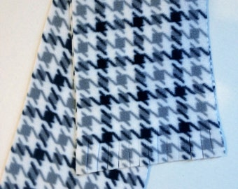 """Black and Gray Houndstooth Fleece Fabric - 8"""" wide X 60"""" long"""