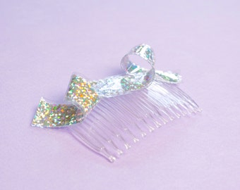 Sparkle Hair Comb Holographic Swirl Hair Bow Silver Insert