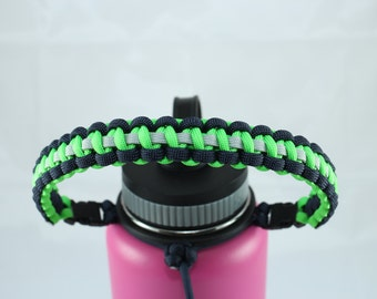 Midnight Blue, Safety Green & Silver Gray Color Paracord Handle