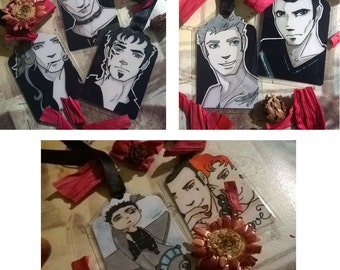 laminated bookmarks, Black Dagger Brotherhood, BDB, J.R. Ward vampire serie. Phury, Zsadist,Tohrment, Vishous, Rhage, Qhuinn, Blay