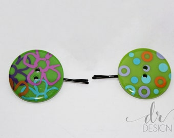 Green Button Bobby Pins