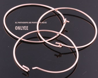 6pcs-30mmBright Rose Gold plated Brass Hoop Ear Wires Earrings(K916R)