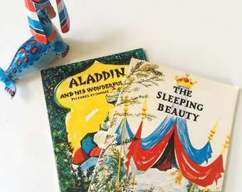 Set of 2 Vintage Children's Books, Illustrated by Charles Mozley Aladdin and his Wonderful Lamp & The Sleeping Beauty